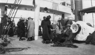 Survivors abroad the  ship RMS Carpathia