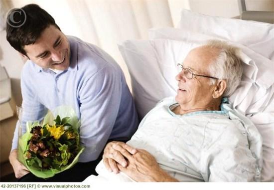 Grandson visiting his grandfather