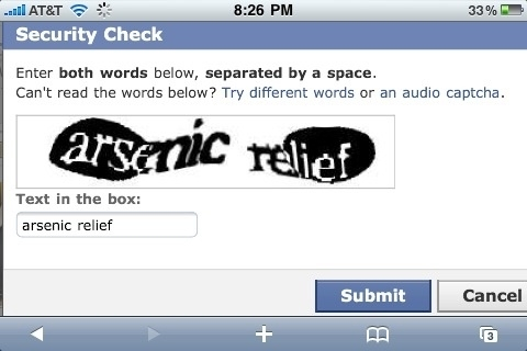 Arsenic relief Captcha