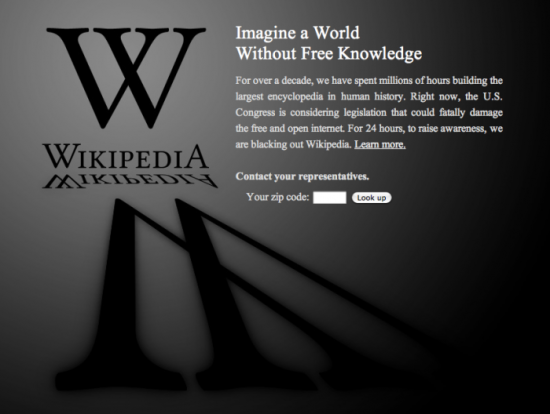 Wikipedia blackout against SOPA